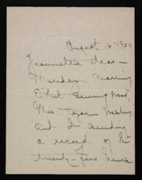 Letter from Mary Woolley to Jeannette Marks, 1924 August 18