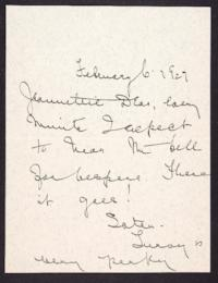 Letter from Mary Woolley to Jeannette Marks, 1927 February 6
