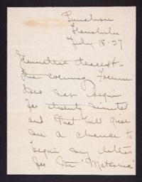 Letter from Mary Woolley to Jeannette Marks, 1927 July 18