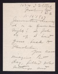 Letter from Mary Woolley to Jeannette Marks, 1927 November 16