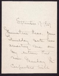 Letter from Mary Woolley to Jeannette Marks, 1927 September 17