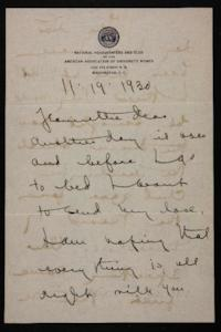 Letter from Mary Woolley to Jeannette Marks, 1930 November 19