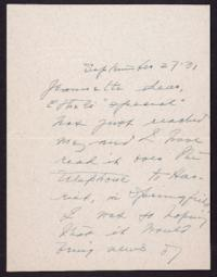 Letter from Mary Woolley to Jeannette Marks, 1931 September 27