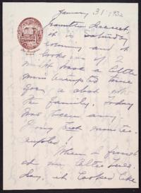 Letter from Mary Woolley to Jeannette Marks, 1932 January 31