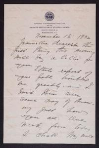 Letter from Mary Woolley to Jeannette Marks, 1932 November 16