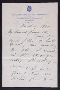 Letter from Mary Woolley to Jeannette Marks, 1938 March 11