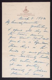 Letter from Mary Woolley to Jeannette Marks, 1938 March 3