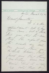 Letter from Mary Woolley to Jeannette Marks, 1940 March 24