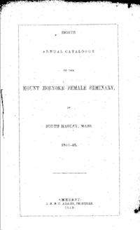 Mount Holyoke College Annual Catalog, 1844-1845