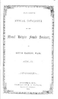 Mount Holyoke College Annual Catalog, 1851-1852
