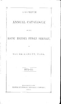Mount Holyoke College Annual Catalog, 1854-1855