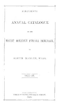 Mount Holyoke College Annual Catalog, 1855-1856