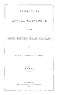 Mount Holyoke College Annual Catalog, 1859-1860