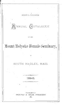 Mount Holyoke College Annual Catalog, 1880-1881