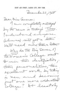 Groves, Marion Nash (Class of 1917) ALS (copy) to Miss Cameron; + memo + reply