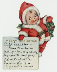 Christmas card to Cornelia Clapp, mentioning Jeannette Marks