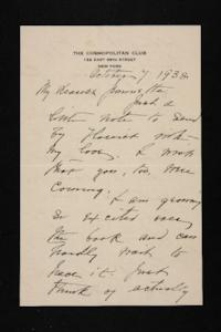 Letter from Mary Woolley to Jeannette Marks, 1938 October 7