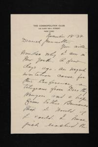 Letter from Mary Woolley to Jeannette Marks, 1938 November 18