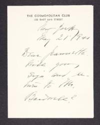 Letter from Mary Woolley to Jeannette Marks, 1941 May 21