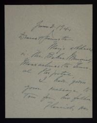 Letter from Mary Woolley to Jeannette Marks, 1941 June 3