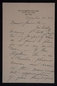 Letter from Mary Woolley to Jeannette Marks, 1942 December 10