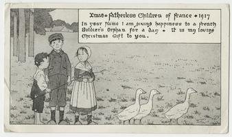 "Christmas postcard from Helen Whiting (Class of 1915) to Cornelia Clapp, to benefit the ""Fatherless children of France"""