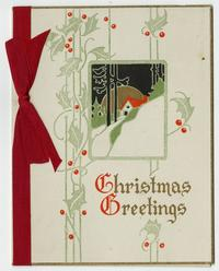 "Christmas card belonging to Cornelia Clapp, ""Christmas Greetings"""
