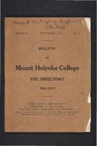 Mount Holyoke College Directory, 1916-1917
