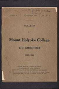 Mount Holyoke College Directory, 1923-1924