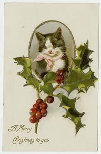 "Christmas postcard from Adele Kanter (Class of 1906) to Cornelia Clapp, ""A Merry Christmas to you"""