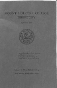 Mount Holyoke College Directory, 1966-1967