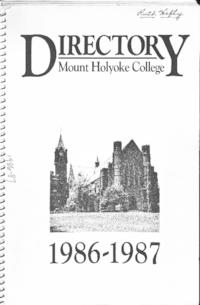 Mount Holyoke College Directory, 1986-1987