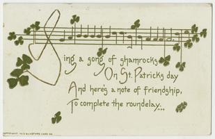 "St. Patrick's Day postcard from ""Every Man"" to Cornelia Clapp"