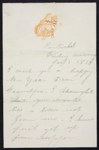 Mary Emma Woolley autograph letter signed to (Deacon) S.G. Ferris, 1875 January 1