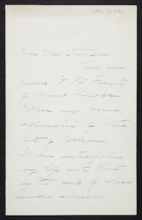 Mary Emma Woolley autograph letter signed to Unidentified recipient, 1900 March 17