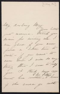 Mary Augusta (Ferris) Woolley autograph letter signed to Mary Emma Woolley, 1901 May 3