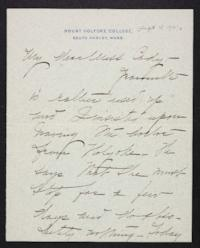 Mary Emma Woolley autograph letter signed to Helen May Cady, 1901 September 15