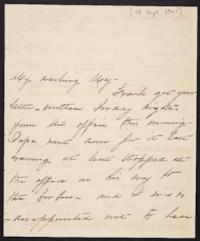 Mary Augusta (Ferris) Woolley autograph letter signed to Mary Emma Woolley, 1901 September 15