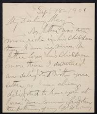 Rev. Joseph Judah  Woolley autograph letter signed to Mary Emma Woolley, 1901 September 18