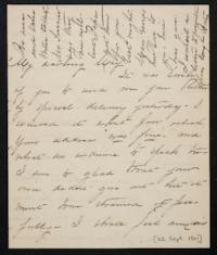 Mary Augusta (Ferris) Woolley autograph letter signed to Mary Emma Woolley, 1901 September 22