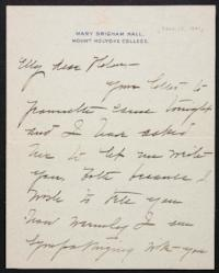 Mary Emma Woolley autograph letter signed to Helen Miller Gould Shephard, 1901 November 15