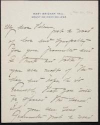 Mary Emma Woolley autograph letter signed to Helen Miller Gould Shephard, 1901 November 20