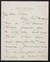 Mary Emma Woolley autograph letter signed to Helen Miller Gould Shephard, 1901 November 30