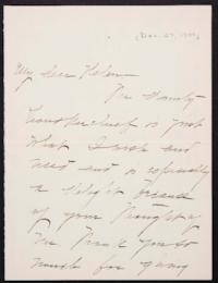 Mary Emma Woolley autograph letter signed to Helen Miller Gould Shephard, 1901 December 27