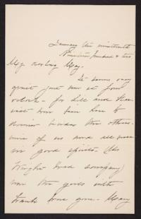 Mary Augusta (Ferris) Woolley autograph letter signed to Mary Emma Woolley, 1902 January 19