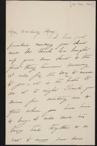 Mary Augusta (Ferris) Woolley autograph letter signed to Mary Emma Woolley, 1902 January 22