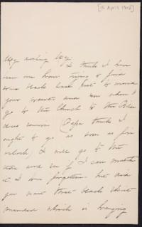 Mary Augusta (Ferris) Woolley autograph letter signed to Mary Emma Woolley, 1902 April 15