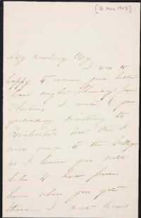 Mary Augusta (Ferris) Woolley autograph letter signed to Mary Emma Woolley, 1902 May 6