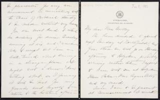 Helen Miller Gould Shephard autograph letter signed to Mary Emma Woolley, 1902 June 8
