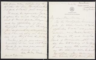 Helen Miller Gould Shephard autograph letter signed to Mary Emma Woolley, 1902 June 20